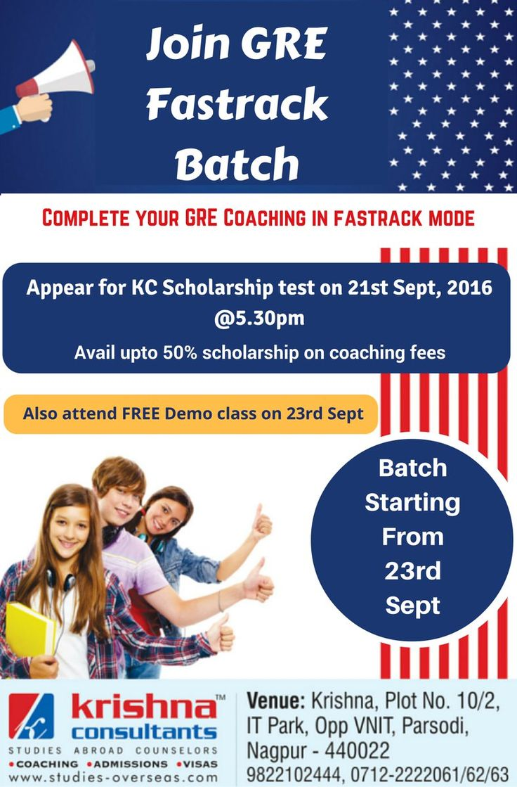 Join #GRE Fastrack Batch @ Krishna Consultants. Scholarship of up to 50% is available on GRE Coaching fees.