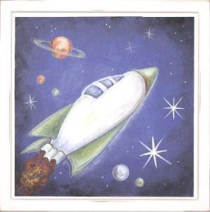 Rocket ship, drawing for bedroom