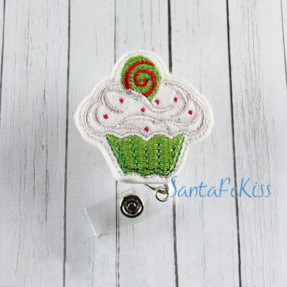 Feltie Badge Reel, Christmas Cupcake Felt Badge Reel, retractable badge holder, badge clip, badge pull - pinned by pin4etsy.com