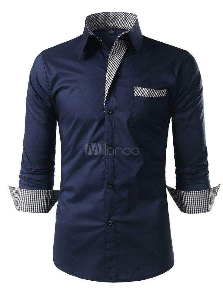 Camiseta de hombre de algodón 2018 marino oscuro cuello vuelto manga larga de a…