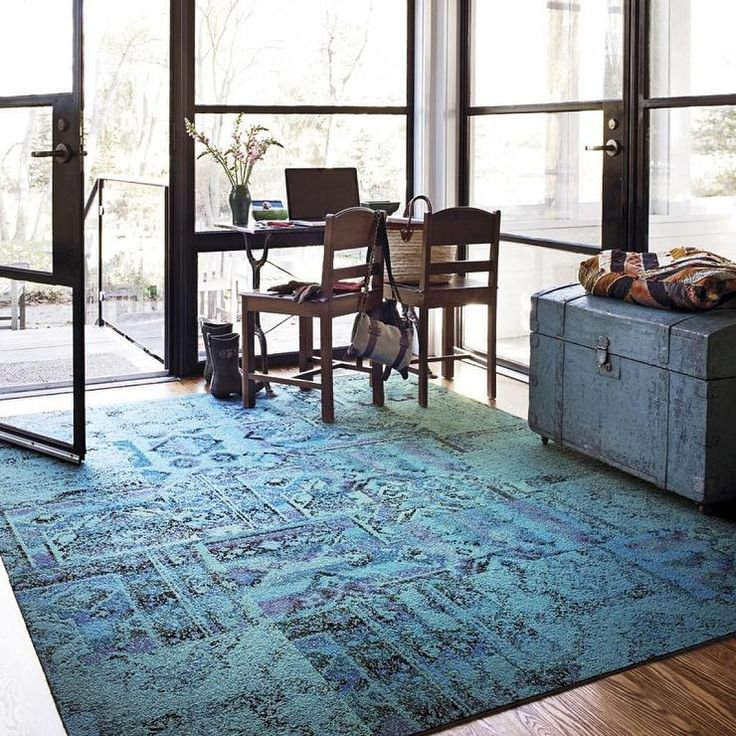 Rugs - Remembrance-Teal carpet tile I FLOR - turkish style carpet tile, teal turkish style carpet tile, teal carpet tile, patterned teal car...