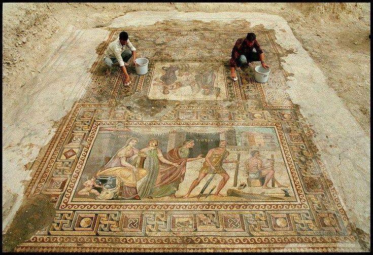 Zeugma Mosaic of Icarus and Daedalus, Roman period, Turkey