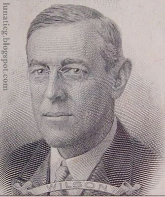 $100000 Dollars Bill Portrait - Woodrow Wilson (1856-1924)