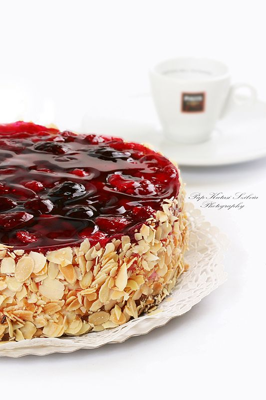 Fruit cake with coffee.
