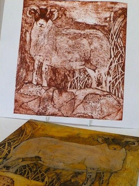 Collagraph by Gaynor Pearson (due to the amber-colored plate I will hazard a guess that shellac was used to waterproof the matrix and that she is from UK)