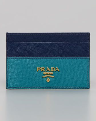 Leather Business Card Case, Bluette/Turquoise by Prada