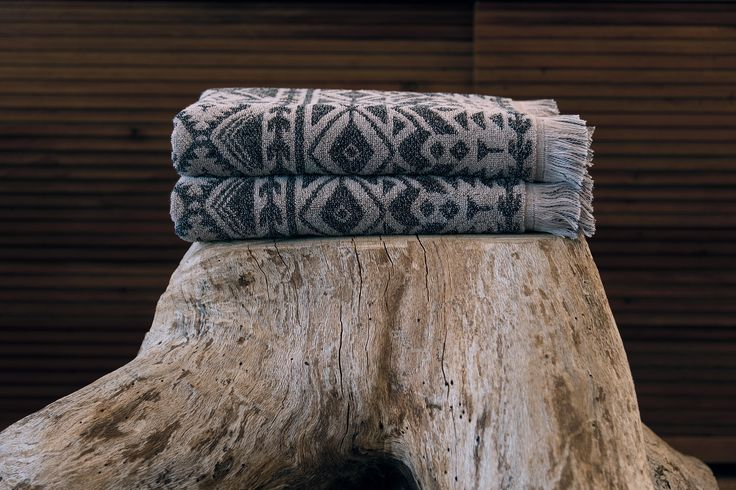 Spirit bath towels, bath rugs and bath mats. Part of our Past Modern bath concept, which portrays rustic and ethnic scenes, creating a distinctive look with a traditional flavour.