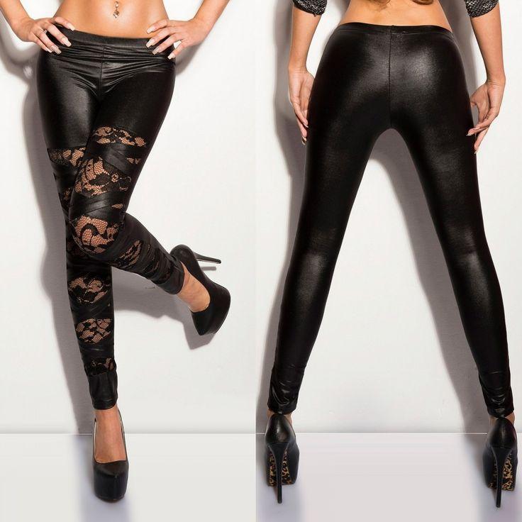 Fekete csipkés bőrhatású leggings