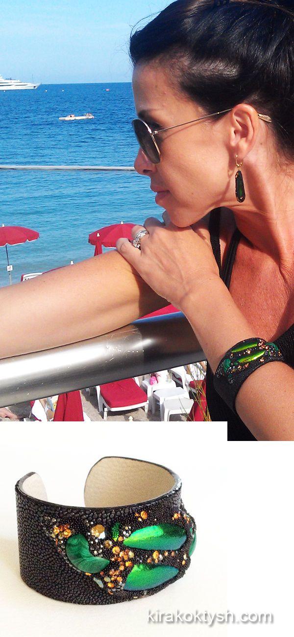 Kira Koktysh Jewelry Stingray Skin Cuff (Materials: Genuine Polished Stingray Skin, Malachite, Elytra of Asian Green Jewel beetle (Sternocera sp.),  Swarovski crystals, )