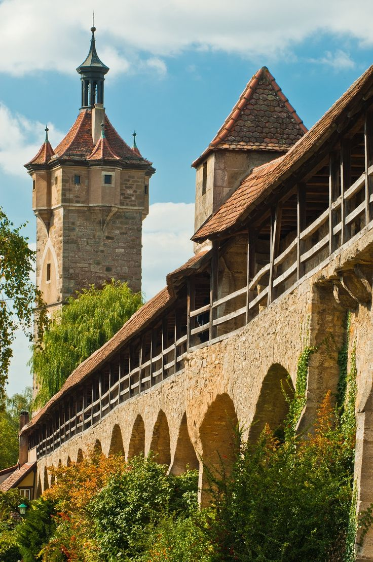 The defence wall and Klingen tower in Rothenburg ob der Tauber