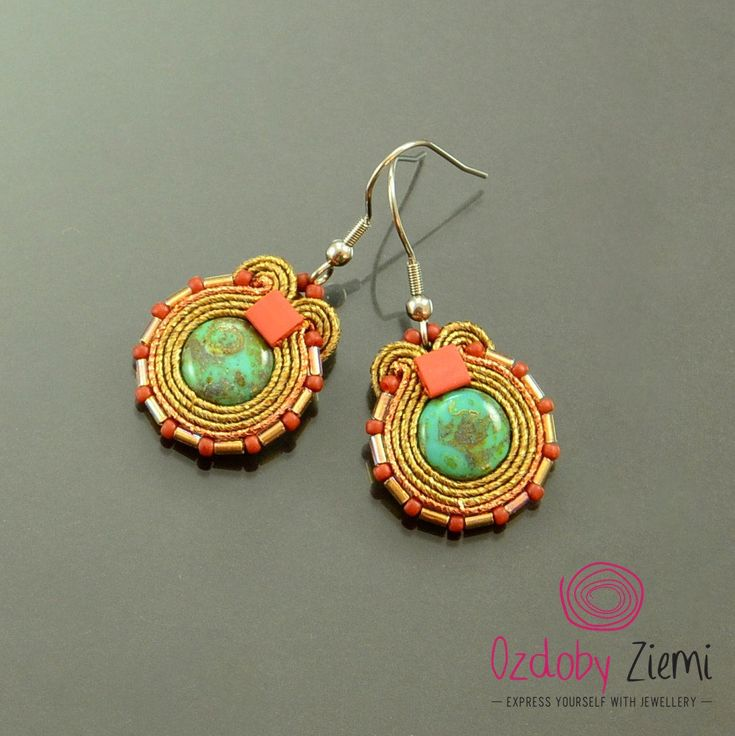 Colorful small soutache earrings cooper old gold cute jewelry turquoise little dangle earrings gold boho earrings fresh juicy colorful hooks by OzdobyZiemi on Etsy