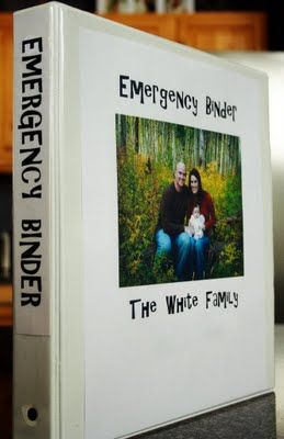 An emergency binder is a place to store birth and marriage certificates, passports, social security cards, home insurance information, car insurance information, emergency cash, missing fliers for your family members, etc. Its all in one convenient place that is easy to grab on your way out the door.