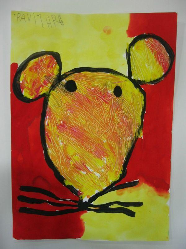 Tête de souris à la peinture