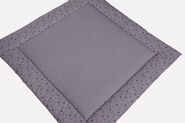 Babydecken -  Dicke Krabbeldecke Röschen grau mit Namen - ein Designerstück von EuleLulu bei DaWanda