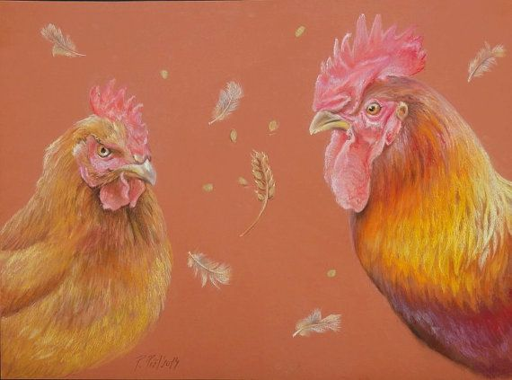 ROOSTER and Hen ANIMAL PAINTING Large size by CanisArtStudio #pasteldrawing #rooster #animalart