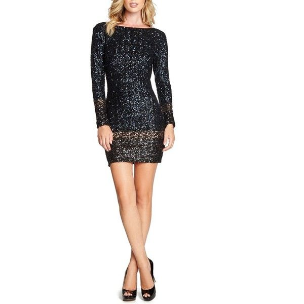 Dress the Population 'Patricia' Open Back Sequin Minidress ($224) ❤ liked on Polyvore featuring dresses, white long sleeve cocktail dress, sequin dress, short white dresses, long sleeve cocktail dresses and white dress
