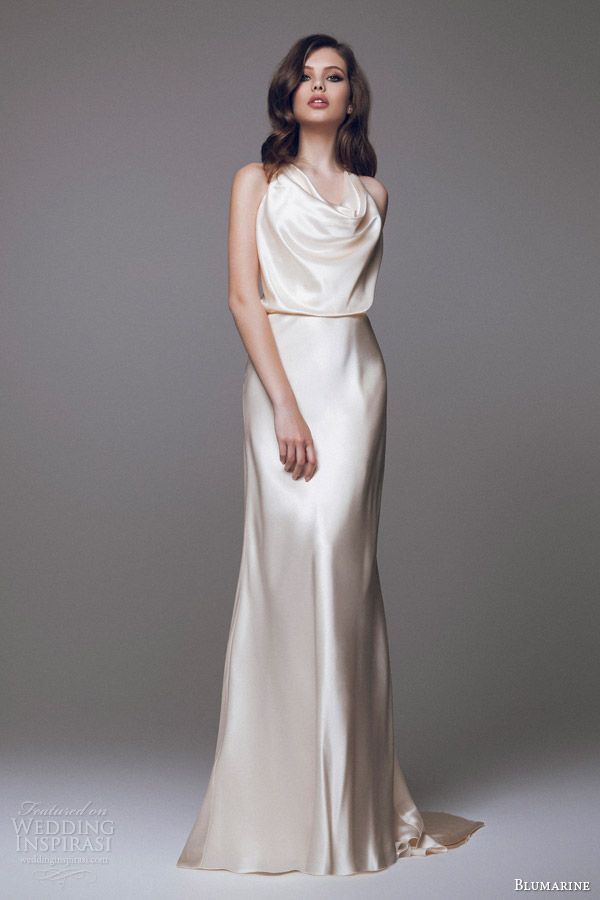 blumarine 2015 bridal collection champagne gold cowl neck blouson wedding dress