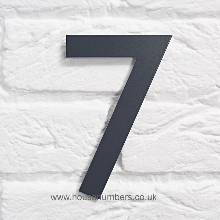 Anthracite grey house number 7 with hidden fixings suitable for brick or masonry in Gill Sans font 150mm high These house numbers are laser cut from