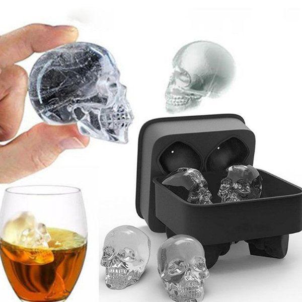 casa cocktail e cubetti di ghiaccio bar per Halloween Stampo in silicone per cubetti di ghiaccio a forma di teschio 3D whisky vino