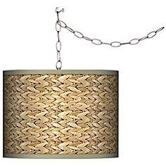 "Swag Style Seagrass Print Shade Plug-In Chandelier. $130. akes one 100 watt bulb (not included). Shade is 10"" high, 13 1/2"" wide. 15 feet of lead wire. 10 feet of chain."