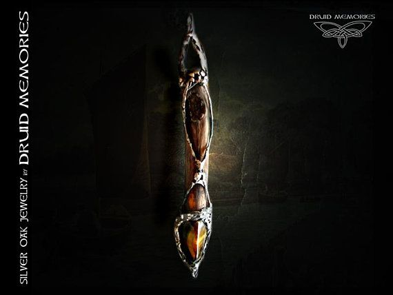 """Hawk- tiger eye and old wood pendant """"Abuaphan"""", druid amulet, mens and womens pendant."""