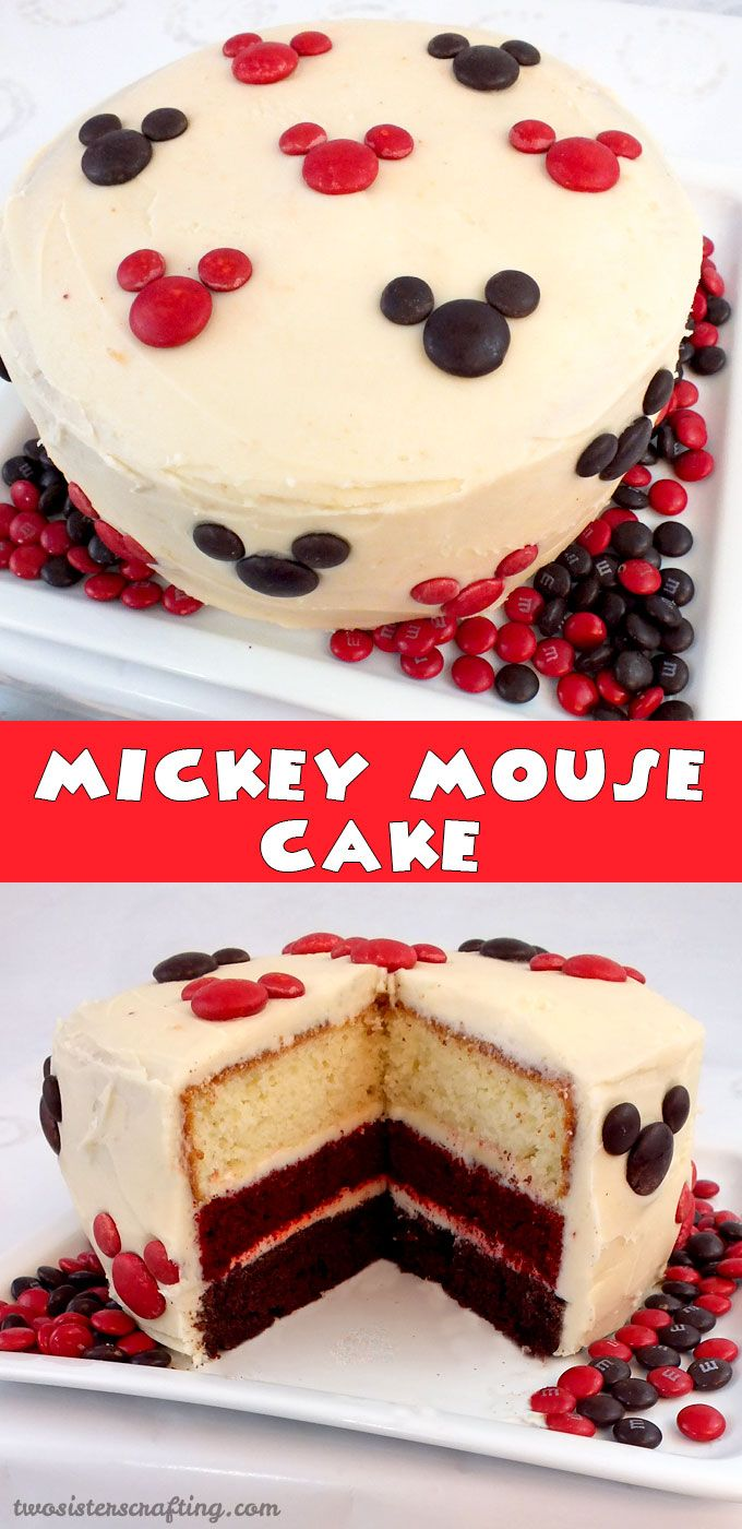 So adorable and so easy to make - our Mickey Mouse Cake is perfect for a Mickey Mouse Birthday Party or as a special treat for that Disney lover in your life. For more great Mickey Mouse Party Ideas follow us at https://www.pinterest.com/2SistersCraft/