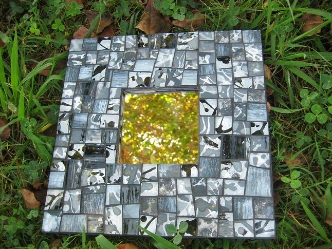 Mosaic mirror made with hand-painted glass pieces