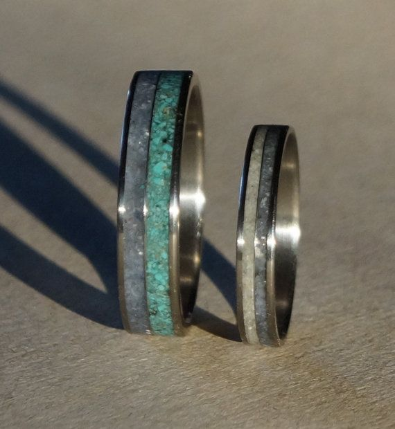 Wedding Band Set Titanium Wedding Ring Turquoise by RingsDepot