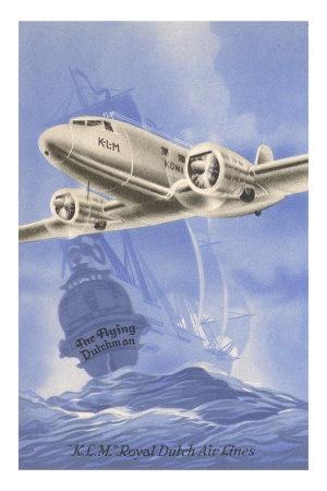 Flying Dutchman Ship with Klm Plane Premium Poster