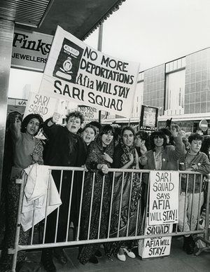 The Sari Squad pickets the Tory party conference, 1983.