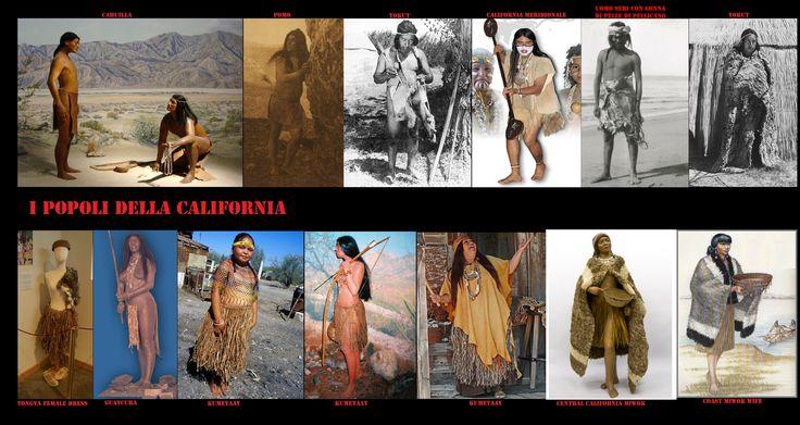 Abbigliamento caratteristico dei popoli californiani. Durante l'estate gli uomini andavano pressoché nudi cingendosi i fianchi con un perizoma di pelle, mentre le donne ampi grembiali di strisce di scorza d'albero. Di regola andavano scalzi ma a volte calzavano dei mocassini o dei sandali di fibra. Per difendersi dal freddo uomini e donne si avvolgevano in mantelli di pelliccia o di piume intrecciate.