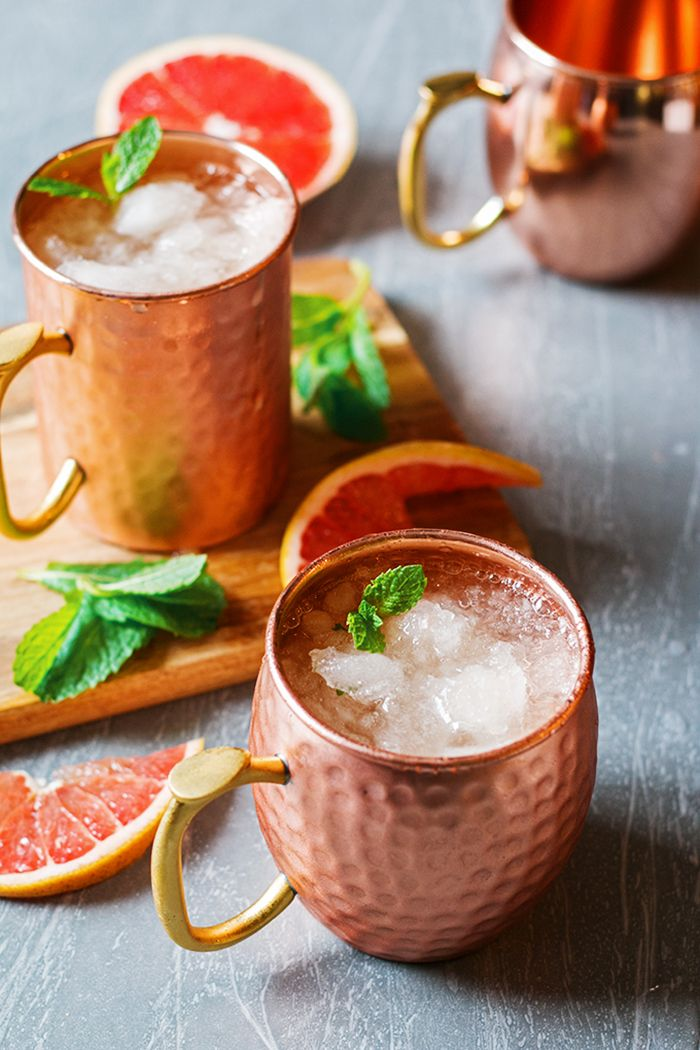 10 Mint Julep Recipes You Need to Try | Grapefruit Mint Julep in Copper Mugs