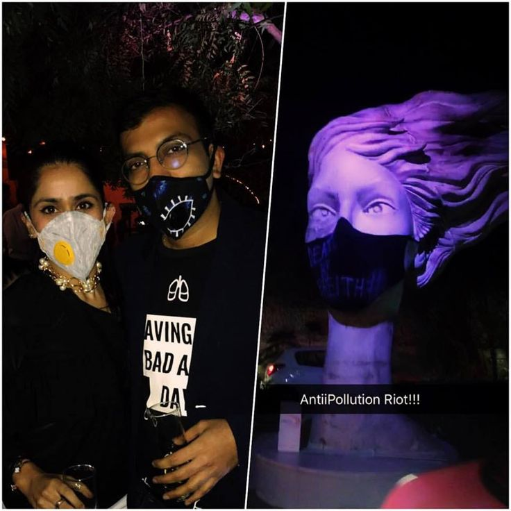 Let's ensure our future does not go up in smoke!! Our co-founder @ridhikakhanna with @saurabhgupta6 at the #gauravgupta #antipollutionriot party last night! #deathbybreathe #righttobreathe #helpdelhibreathe #bemasked #vogmask #gogreen #ridresssupports #antipollutiondrive #keepitclean