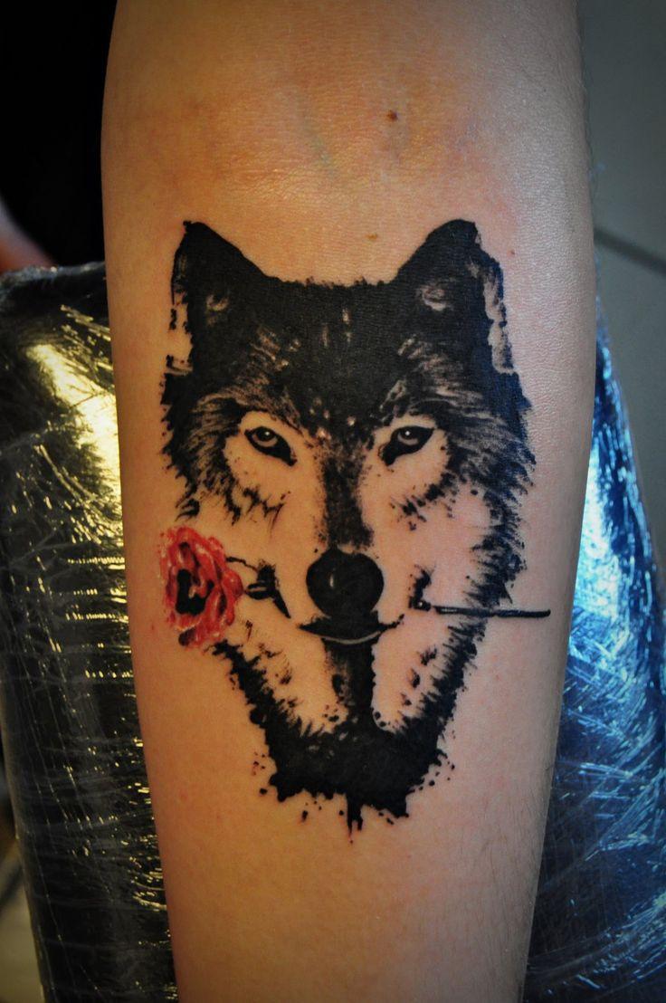 Tattoo motiv wolf tattoovorlage wolfskopf - Wolf With Rose Tattoo By Kubach Deviantart Com On Deviantart