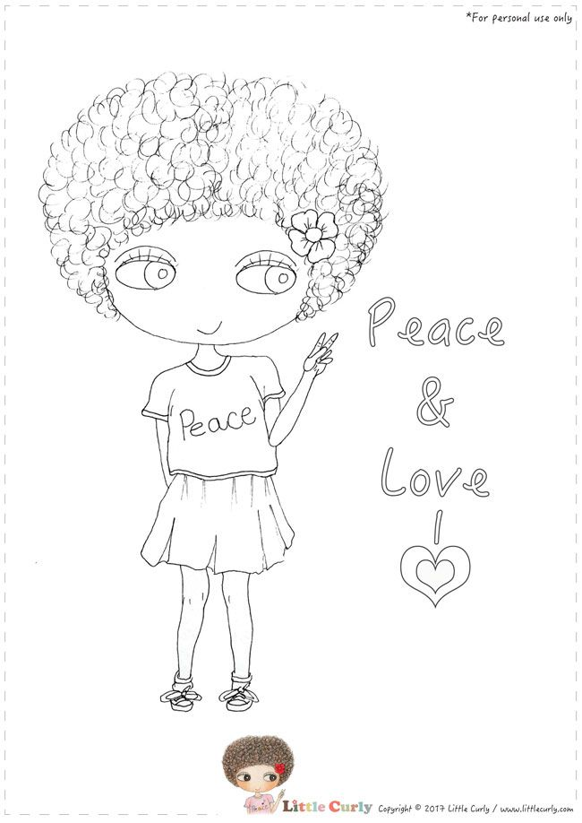 Little Curly's colouring pages - Peace & Love