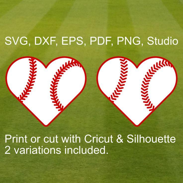 SVG Heart Baseball for Cricut & Silhouette