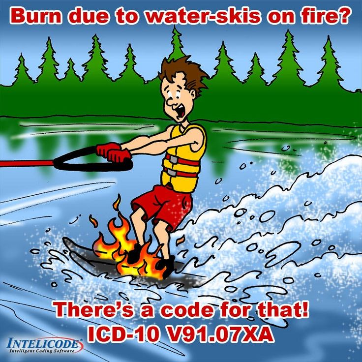 Burn due to water skis on fire?   THERE'S A CODE FOR THAT!!  ICD-10 V91.07XA http://intelicode.com