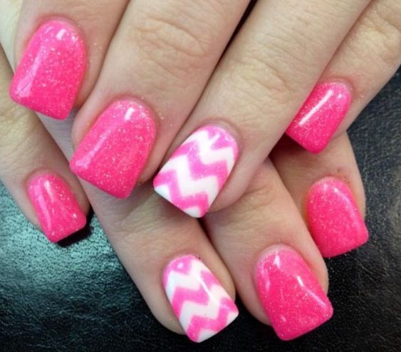 Pink with zig-zag design https://www.facebook.com/shorthaircutstyles/posts/1759817400975366