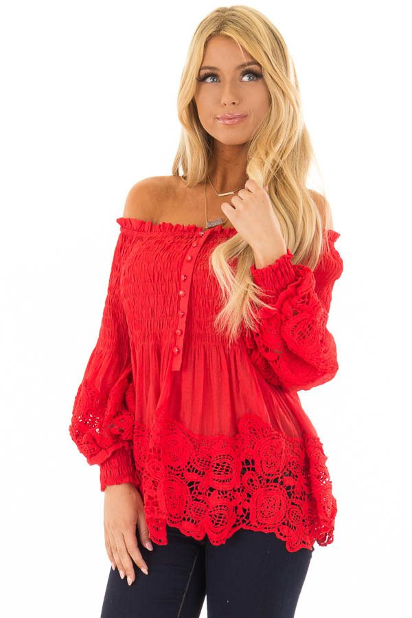 ca3f37eb0ade3a Lime Lush Boutique - Tomato Red Off the Shoulder Long Sleeve Top, $39.99  (https