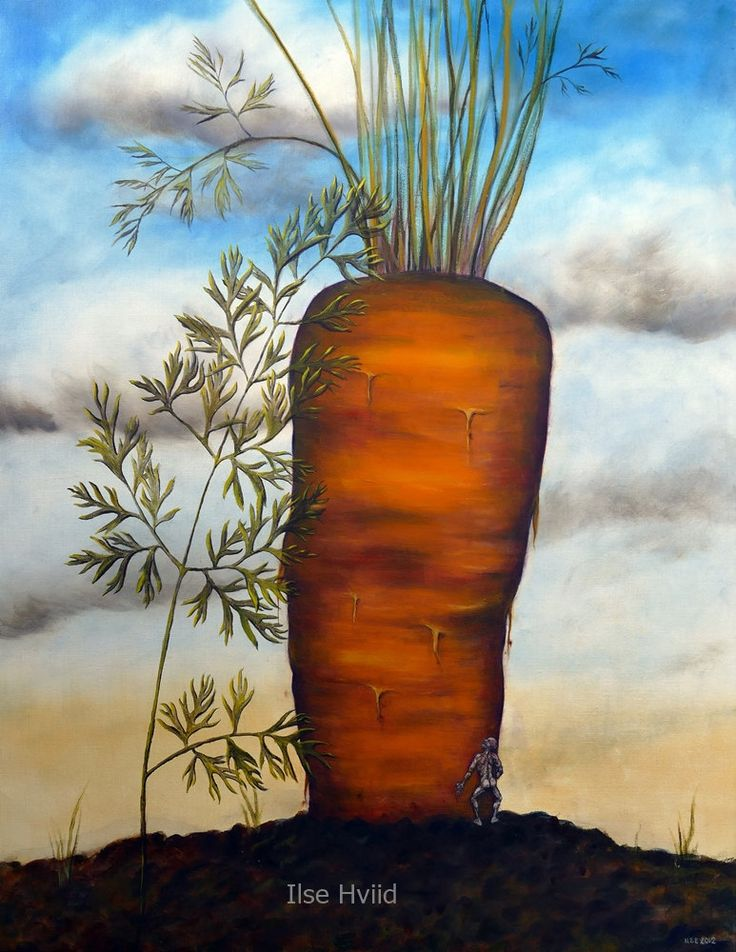 Size matters, instant downloadable JPEG file, big orange carrot and small human figure, blue sky and clouds,  wall decor, instant art by IlseHviid on Etsy