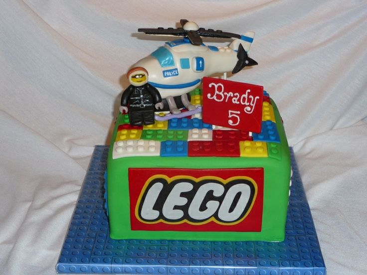 "Lego City Cake - 8"" square cake with gumpaste police officer and RKT helicopter."