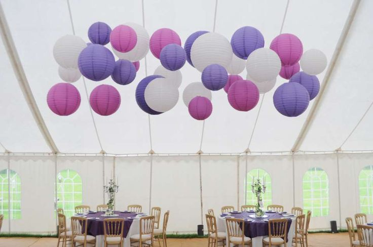 marquee paper lantern canopy in purple, violet and white | lantern