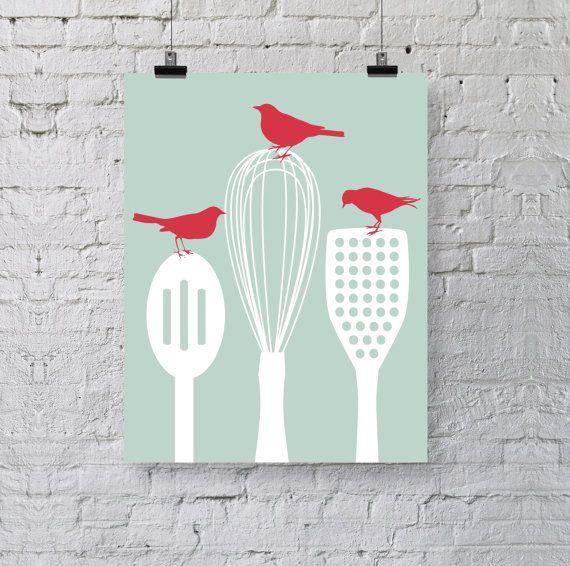 Birds on Kitchen Utensils Art Print - Modern Kitchen Decor - Olive green red white - Spoon Spatula Whisk Silhouette