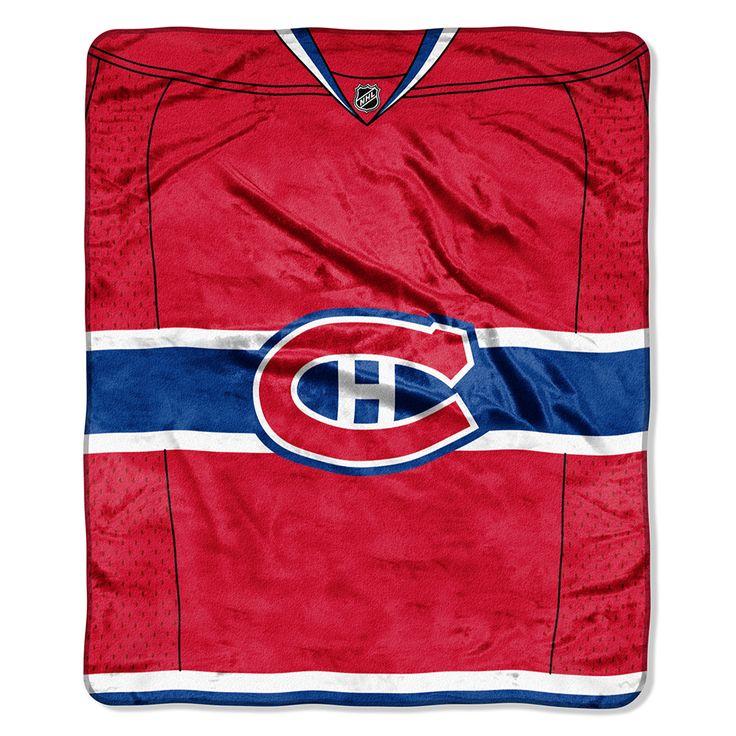 Montreal Canadiens Royal Plush Raschel Blanket (Jersey Series) (50x60) $29.95 at mysportsdecor.com   #montrealcanadiens #canadiens #canandiensbanner