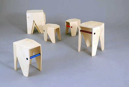 The elephant stool's form follows function, however the construction's element's are accentuated to allow for the stool's animalistic character to become apparent. The stool's stackability and different heights make it an ideal furniture solution for nurseries and kindergartens, however its abstract form makes it an endearing stool for general use. Design By Krystian Kowalski (KKID)