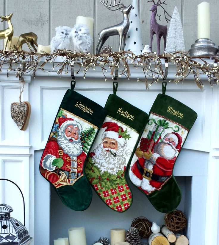 Personalized Needlepoint Christmas Stockings Santa Snowman