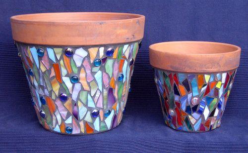 Mosaic Flower Pots | I teach mosaic workshops at the San Gab… | Flickr