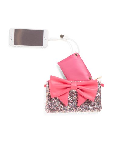 Glitter+Bow+With+Phone+Charger+Crossbody