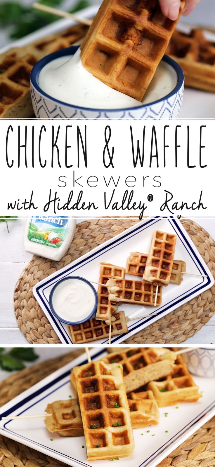 You've never had chicken and waffles like this before. Crispy buttermilk fried chicken INSIDE a waffle, all on a stick that's perfect for dipping into Hidden Valley Ranch dressing. [AD]