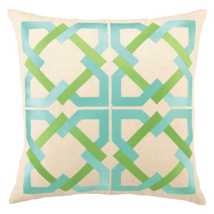 green and aqua pilow > commercially for sale, the line work is embroidered on linen: Trina Turk, Turk Pillow, Blue Green, Geometric Tiles, Tile Pillow, Living Room, Embroidered Pillows, Turk Geometric